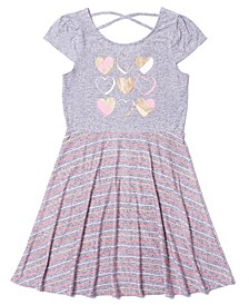 Big Girls Short Sleeve Graphic Cross-Back Tank Dress
