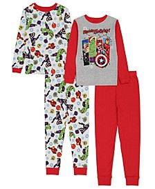 Avengers Big Boys 4 Piece Pajama Set