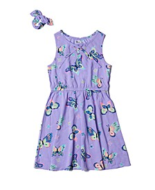 Big Girls All Over Print Lace Up Dress with Scrunchie