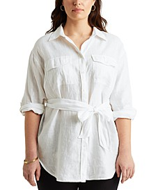 Plus Size Buttoned Linen Top