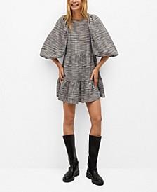 Women's Puffed Sleeves Texture Dress
