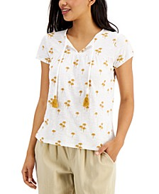 Cotton Embroidered Split-Neck Top, Created for Macy's