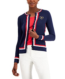 Petite Embroidered Striped Cardigan, Created for Macy's
