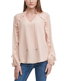 Ruffled Sheer-Sleeve Top