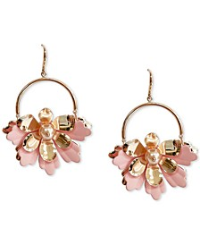 INC Rose Gold-Tone Hoop & Imitation Pearl 3D Flower Drop Earrings, Created for Macy's
