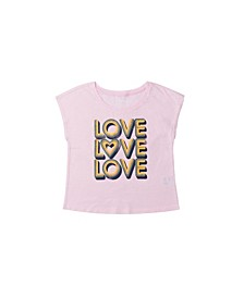 Big Girls Short Sleeve Knot Front Graphic Tee