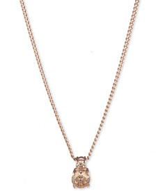 Rose Gold and Silk Crystal Pendant Necklace