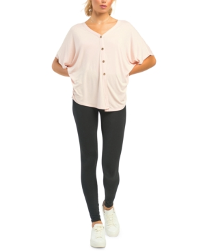 Black Tape BATWING-SLEEVE BUTTON-FRONT T-SHIRT