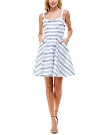 Juniors' Sleeveless Striped Fit & Flare Dress