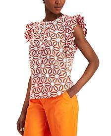 Petite Printed Ruffle-Sleeve Shirt, Created for Macy's