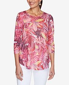 Women's Misses Knit Embellished Floral Top