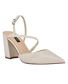 Women's Cache Block Heel Asymmetrical Dress Pumps