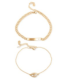 Gold-Tone 2-Pc. Set Pavé ID Tag & Evil Eye Ankle Bracelets