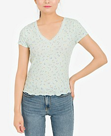 Juniors' Lace Trim V-Neck Top