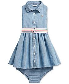 Ralph Lauren Baby Girls Cotton Chambray Woven Dress