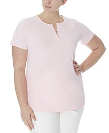 Plus Size Split-Neck Top