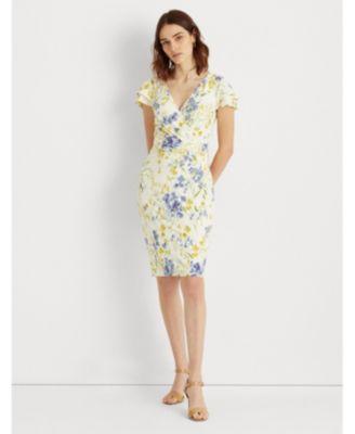 로렌 랄프로렌 Lauren Ralph Lauren Petite Floral Jersey Surplice Dress,Cream/Yellow Multi