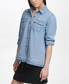 Raw Hem Denim Shirt