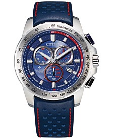 Eco-Drive Men's Chronograph Promaster Blue Leather Strap Watch 43mm