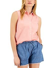 Cotton Cornell Stripe Sleeveless Shirt