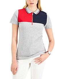 Colorblocked Zip Polo