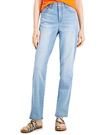 Petite Straight Leg High Rise Jeans, Created for Macy's