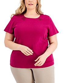 Plus Size Double-Ring Scoop-Neck Top, Created for Macy's