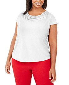 Plus Size Short-Sleeve Cowl-Neck Top