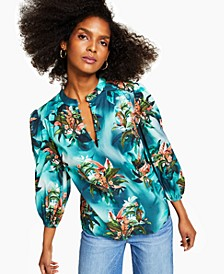 INC Plus Size Cotton Tropical-Print Blouse, Created for Macy's