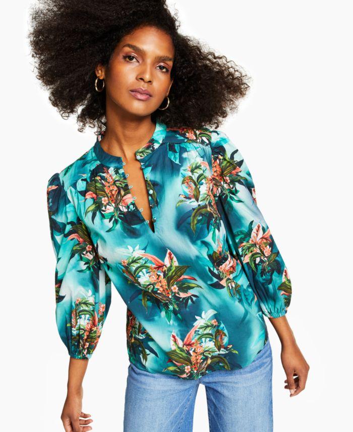 INC International Concepts INC Plus Size Cotton Tropical-Print Blouse, Created for Macy's & Reviews - Tops - Plus Sizes - Macy's