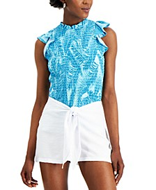 INC Tropical-Print Smocked Top, Created for Macy's