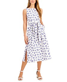 Ivy-Printed Tie-Sash Midi Dress