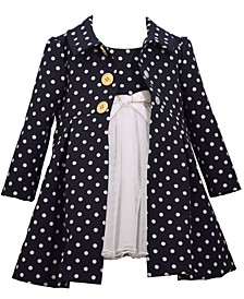 Toddler Girls Polka Dot Poplin Coat with Dress