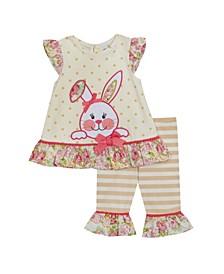 Toddler Girls 2 Piece Bunny Applique Legging Set