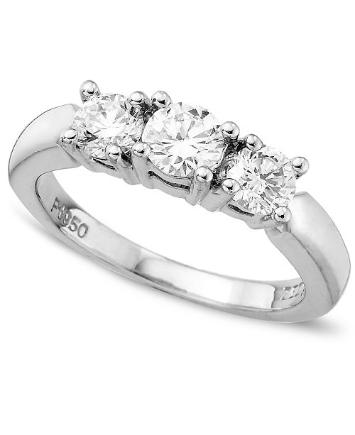 Macy's 18k White Gold Certified Colorless Diamond Three Stone Ring (1 ct. t.w.)