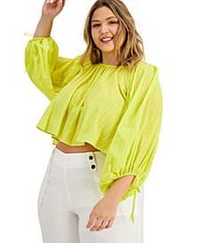 INC Plus Size Cotton Cropped Peasant Top, Created for Macy's