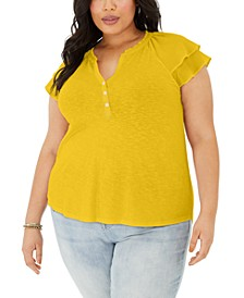 Plus Size Flutter-Sleeve Top, Created for Macy's