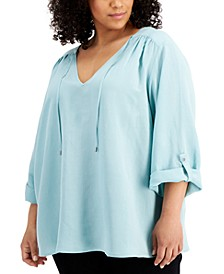 Plus Size V-Neck Roll-Sleeve Top