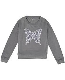 Big Girls Flip Sequin Graphic Velour Sweatshirt
