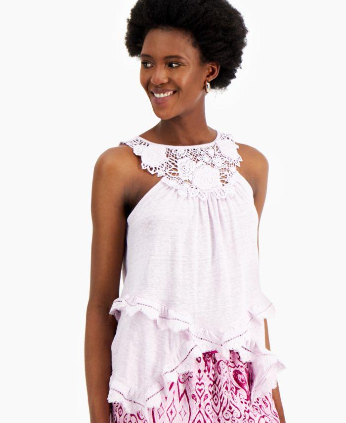 INC International Concepts INC Crochet-Trim Top, Created for Macy's & Reviews - Tops - Women - Macy's