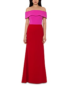 Petite Colorblocked Off-The-Shoulder Gown