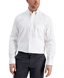Men's Classic/Regular Fit Performance Wrinkle Resistant White Pinpoint Solid Dress Shirt, Created for Macy's