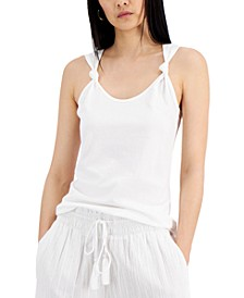 INC Cotton Knotted-Strap Tank Top, Created for Macy's