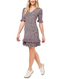 Poppy-Print Ruffled Dress