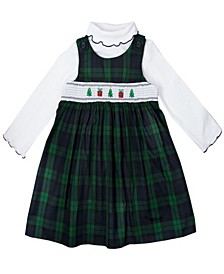 Toddler Girls Tartan Plaid Holiday Motif Smocked Top and Jumper Set, 2 Piece
