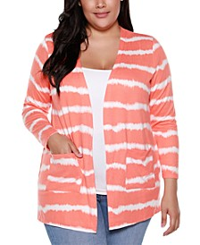 Belle By Plus Size Women's Printed Tie-Dye Stripe Cardigan with Pockets