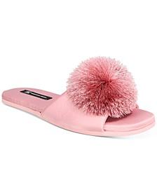 INC Women's Satin Pom Pom Slide Slippers, Created for Macy's