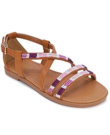 Little Girls Strappy Beaded Sandals