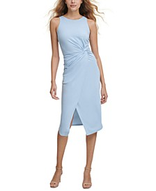 Twist-Front Scuba-Crepe Sheath Dress