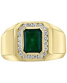 EFFY® Men's Emerald (2-1/5 ct. t.w.) & Diamond (3/8 ct. t.w.) Ring in 14k Gold